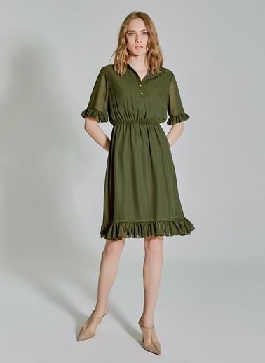 People By Fabrika Şifon Fırfırlı Elbise Haki